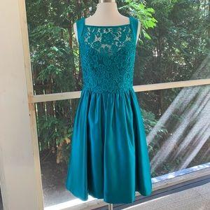 THEIA Vibrant Teal Satin Cocktail Dress